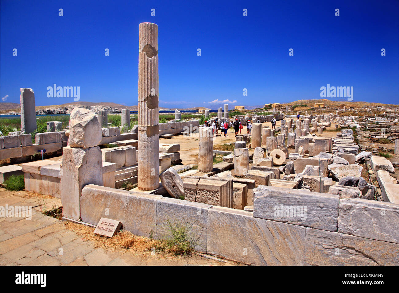 The 'Southern Portico 'in the archaeological site of the 'sacred' island of Delos. Cyclades, Greece. - Stock Image