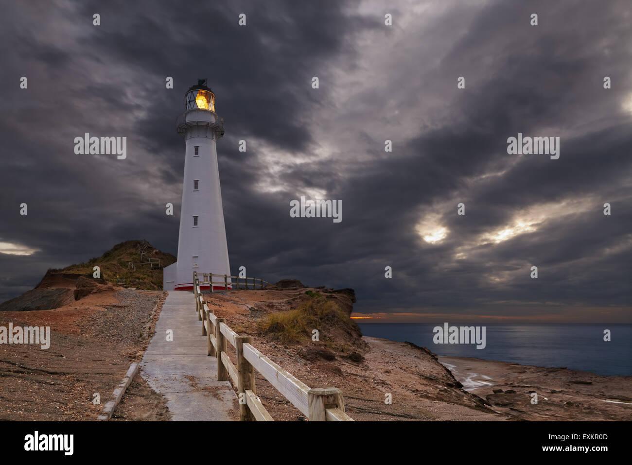 Castle Point Lighthouse, sunrise, Wairarapa, New Zealand Stock Photo