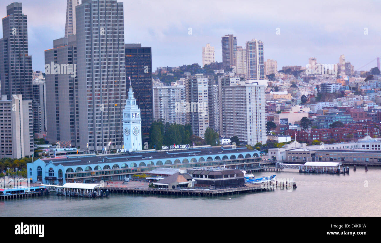 SAN FRANCISCO - MAY 21 2015:San Francisco Ferry Building with SF financial center downtown.It's the terminal - Stock Image