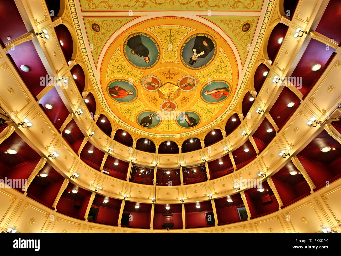 The Apollo Municipal Theater of Syros, Ermoupolis ('Hermoupolis') town, Syros island, Cyclades, Aegean sea, - Stock Image