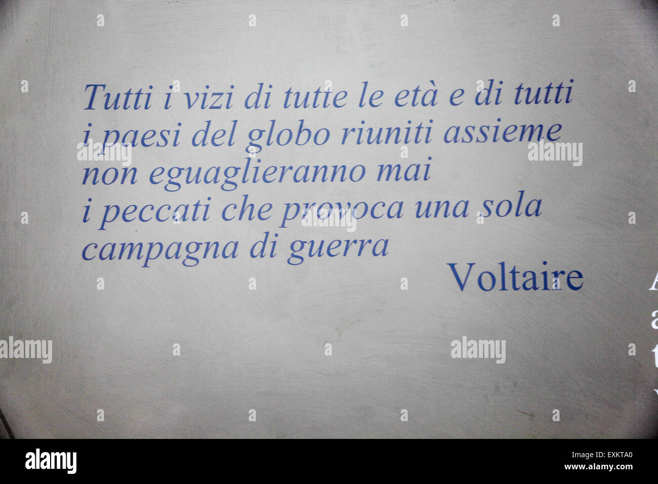 A quote from 'War' by Voltaire, All the united vices of all ages and places will never equal the evils produced - Stock Image