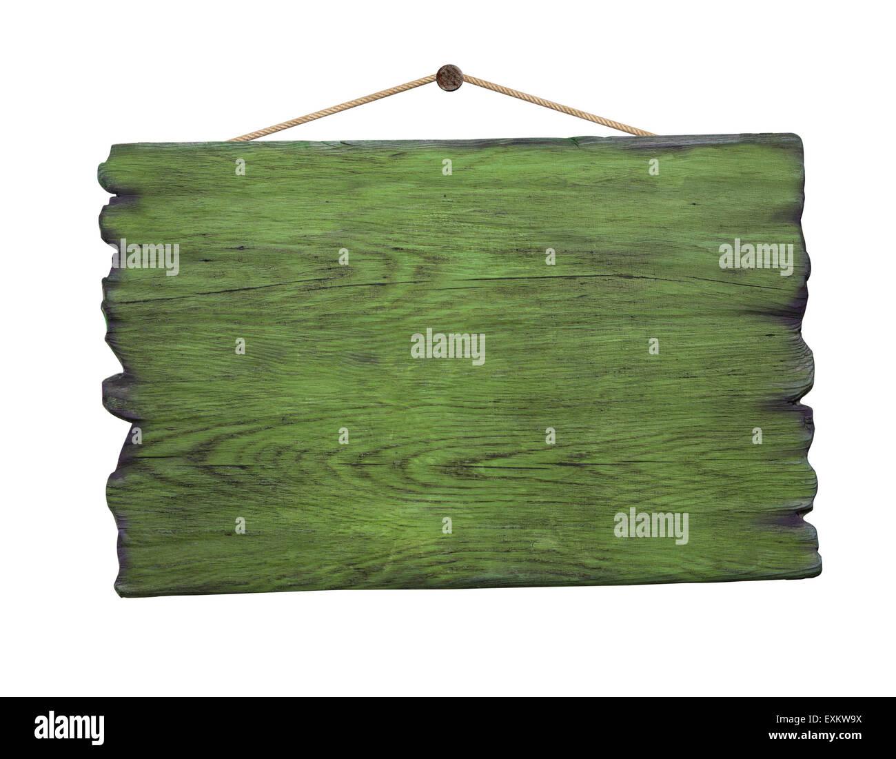 Grunge green wood signboard hanging on nail - Stock Image