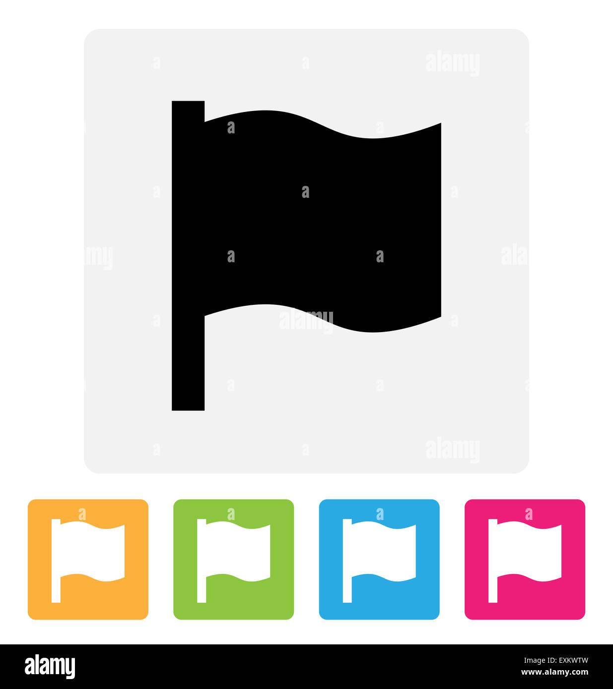Waving flag icon - Stock Image