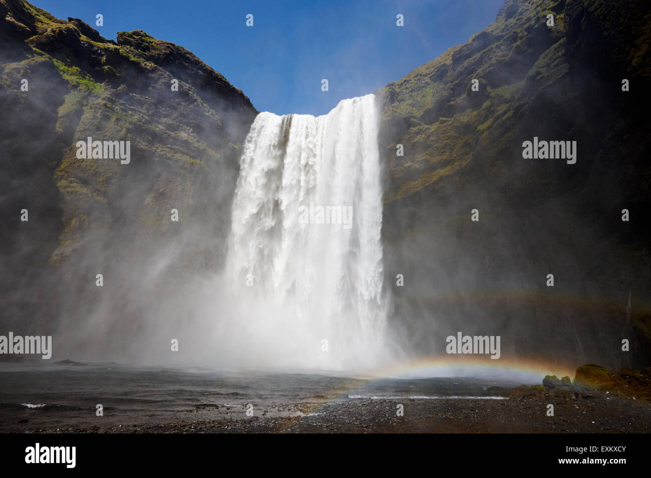 double rainbow at skogafoss waterfall in iceland - Stock Image