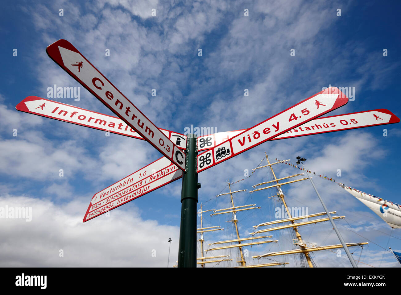 direction signs to tourist spots and walking distances in Reykjavik iceland - Stock Image