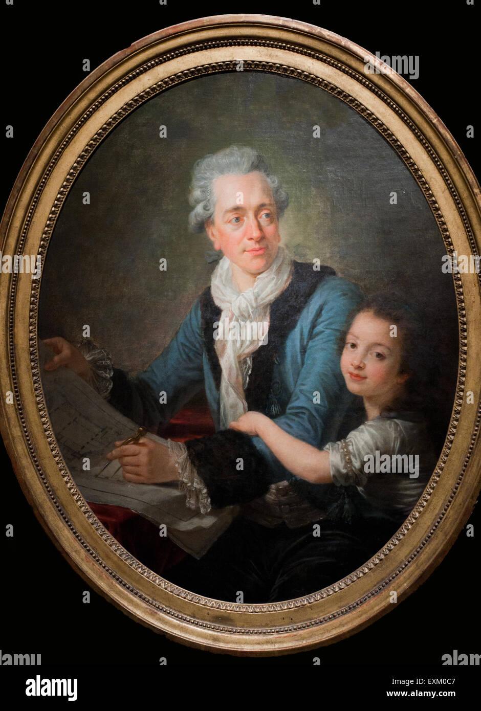 Antoine Callet Claude-Nicolas Ledoux avec sa fille Adélaïde XVIII th Century Carnavalet Museum - Paris - Stock Image