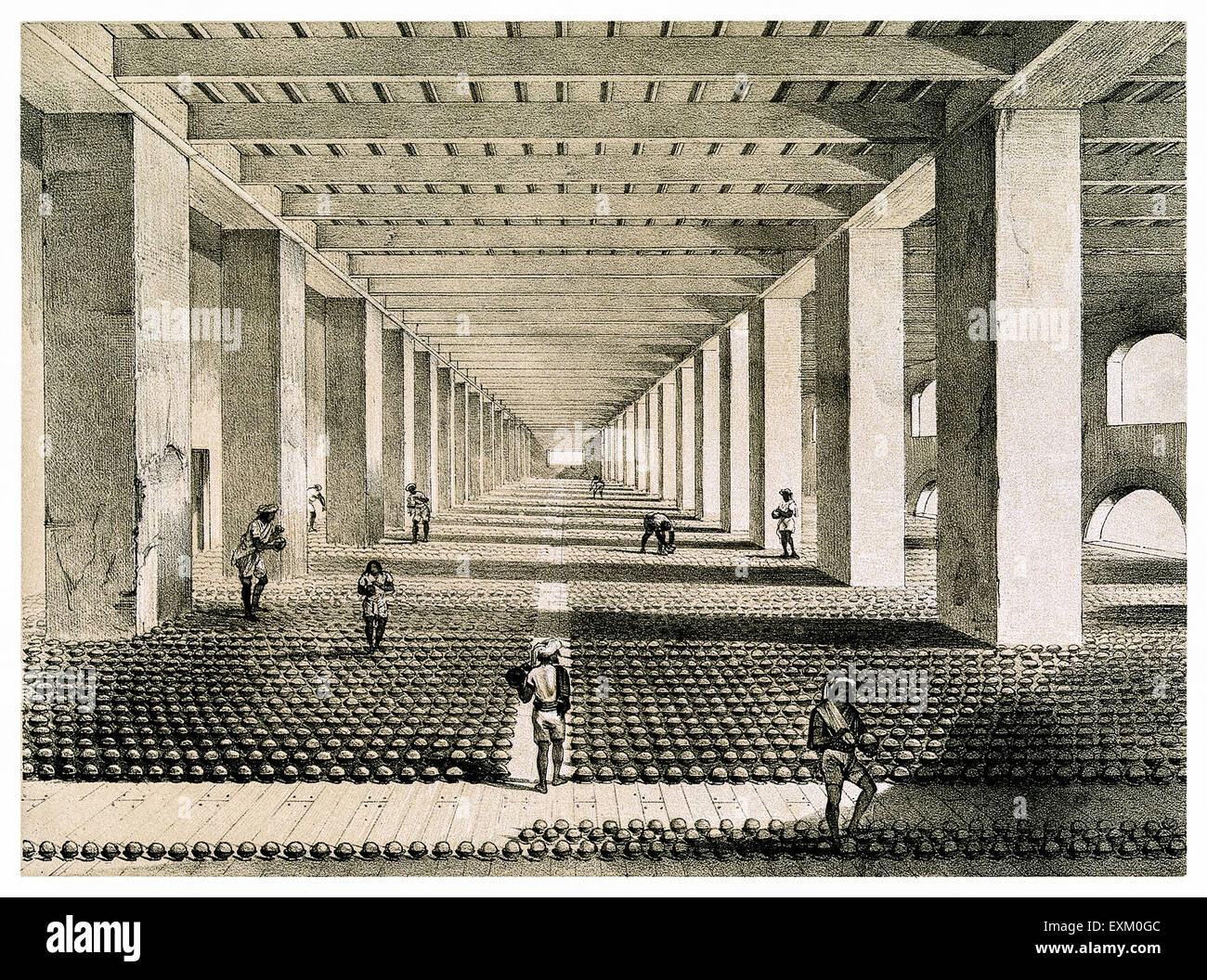 'The Drying Room' where Opium balls from the balling room (see EXMH4T) arrives to dry before being stacked. - Stock Image