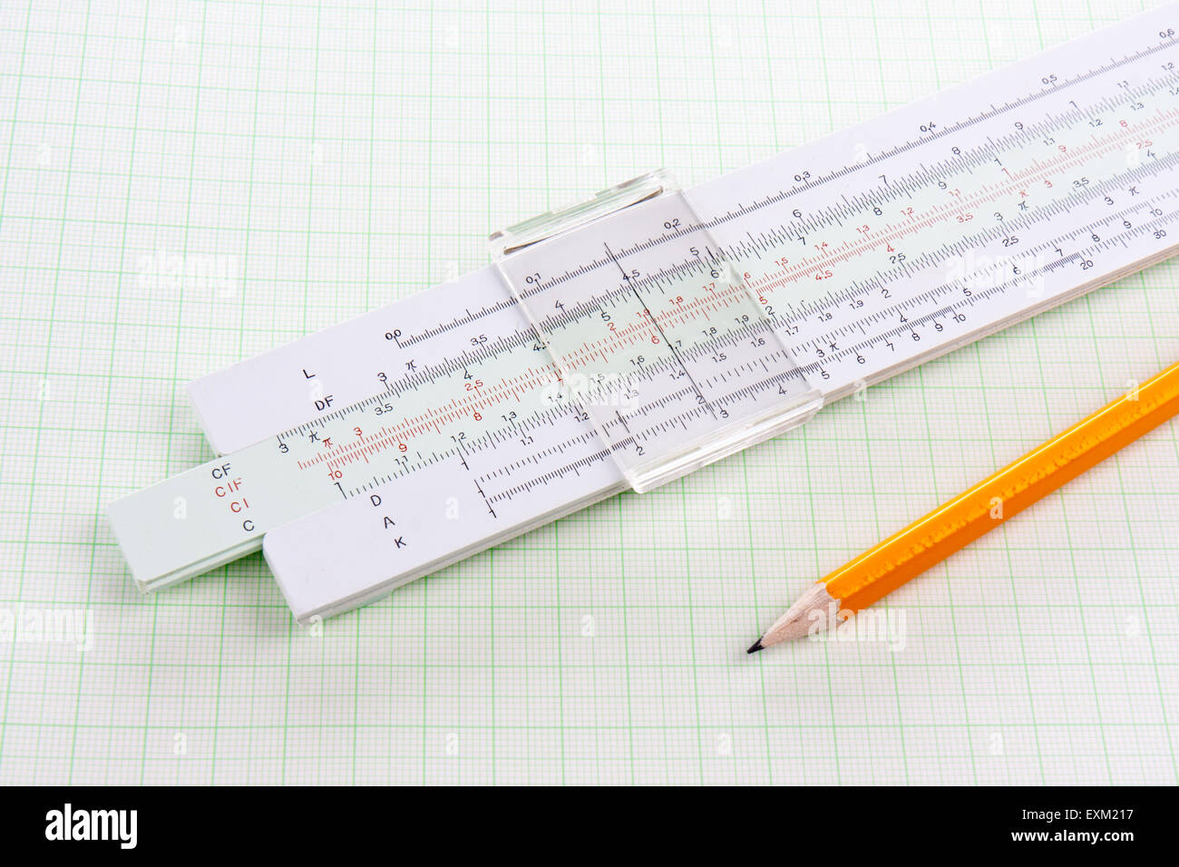 slide rule on squared paper with wooden pencil stock photo 85263171