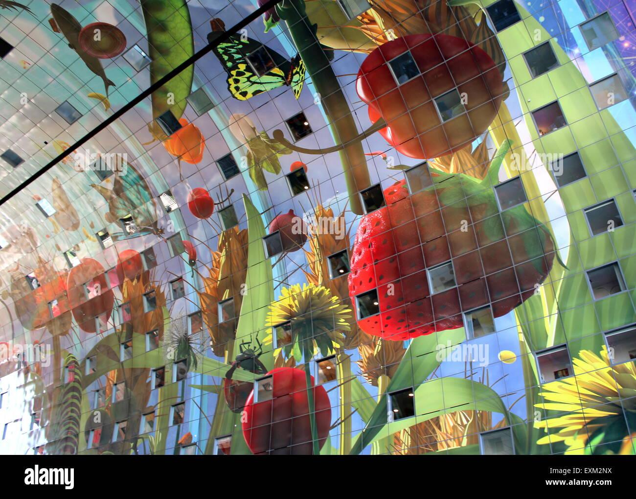 Colourful interior of the Rotterdam Markthal (Rotterdam Market hall).  Artwork by Arno Coenen - Cornucopia, Hoorn Stock Photo