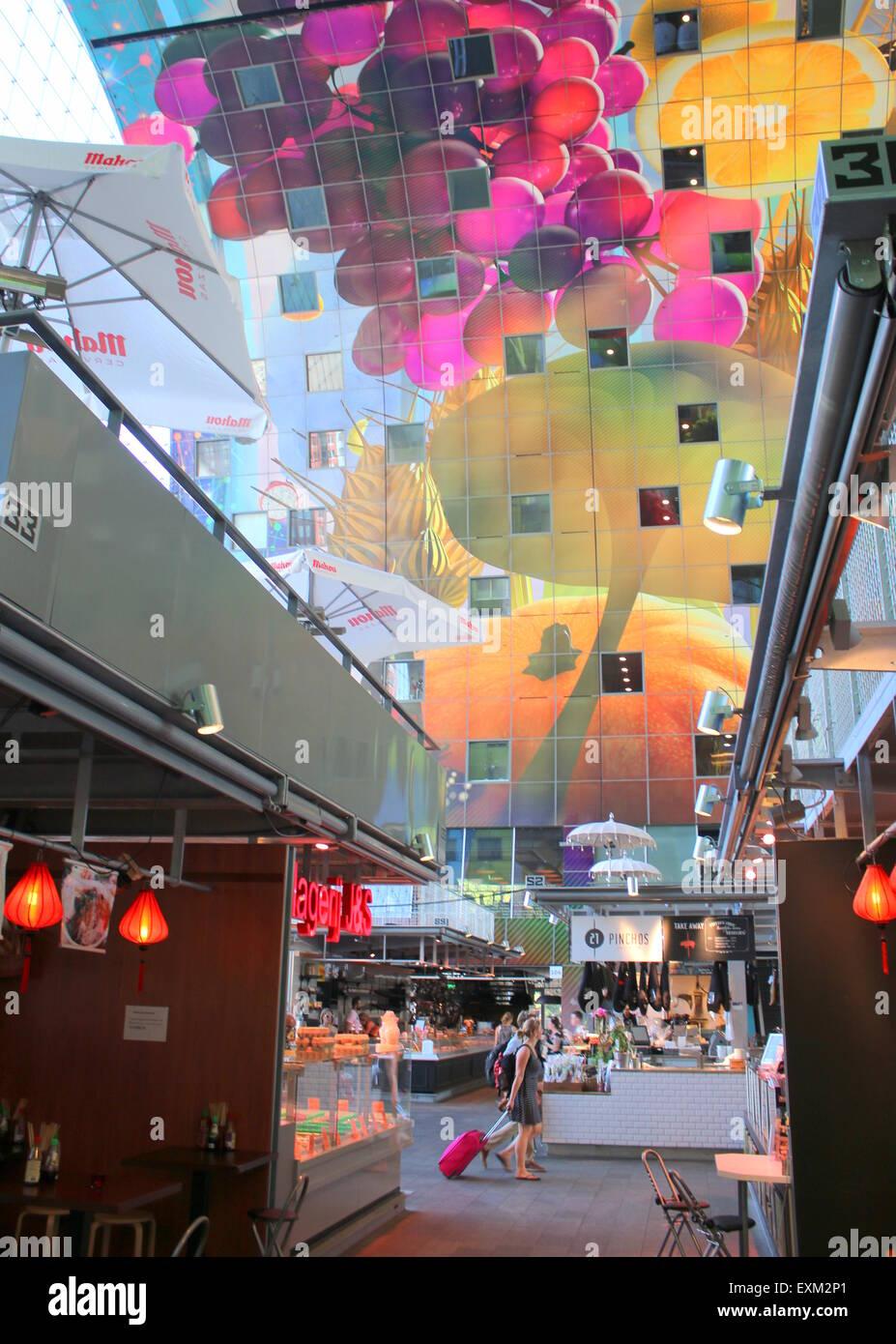Colourful interior of the Rotterdamse Markthal (Rotterdam Market hall), at Blaak square. Stock Photo