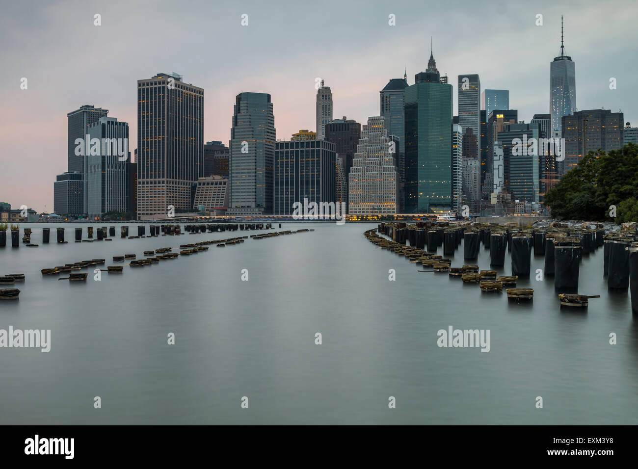 New York City seen from Brooklyn Bridge Park - Stock Image