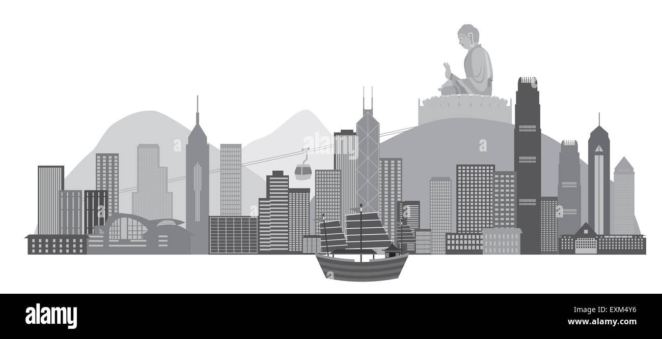 Hong Kong City Skyline and Big Buddha Statue Panorama Grayscale Isolated on White Background Illustration - Stock Image