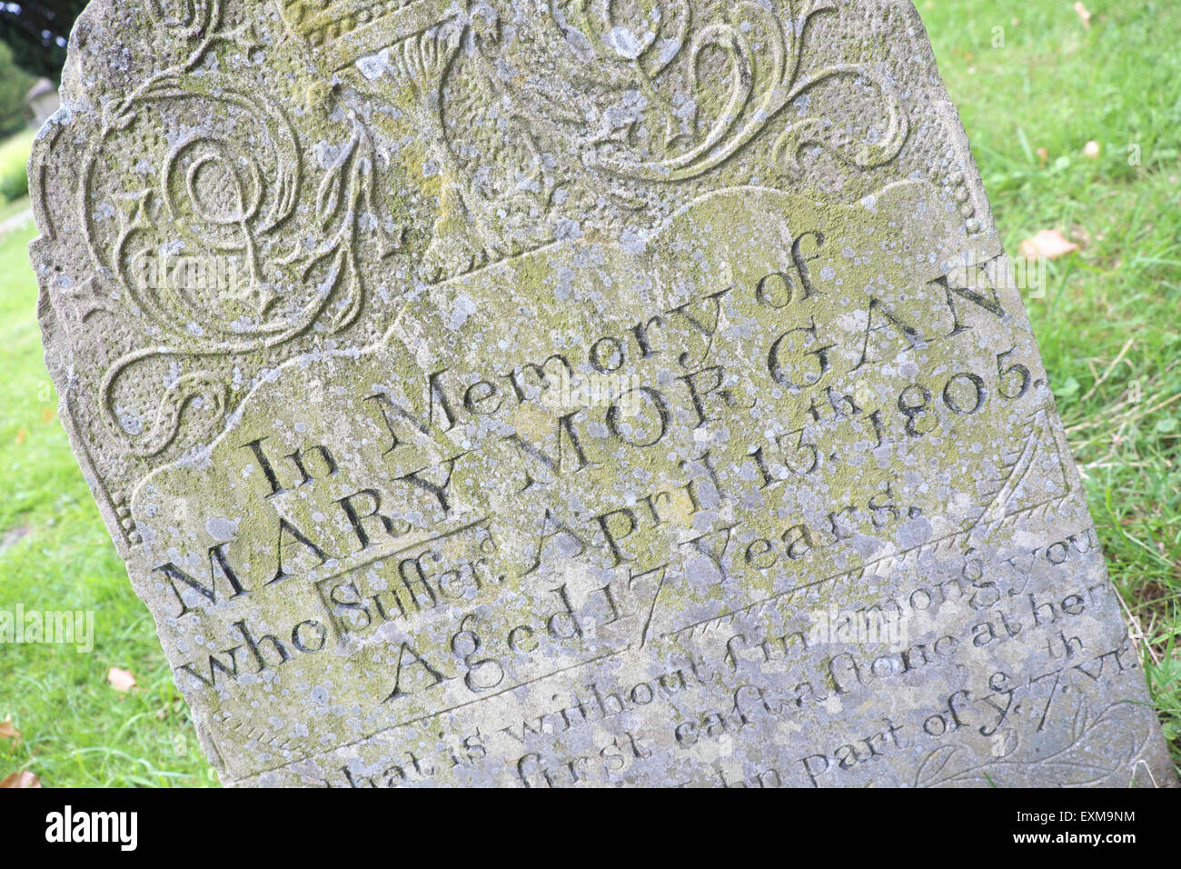 Presteigne Wales, Gravestone of 17 year old Mary Morgan executed in 1805 for infanticide, killing her own new born - Stock Image