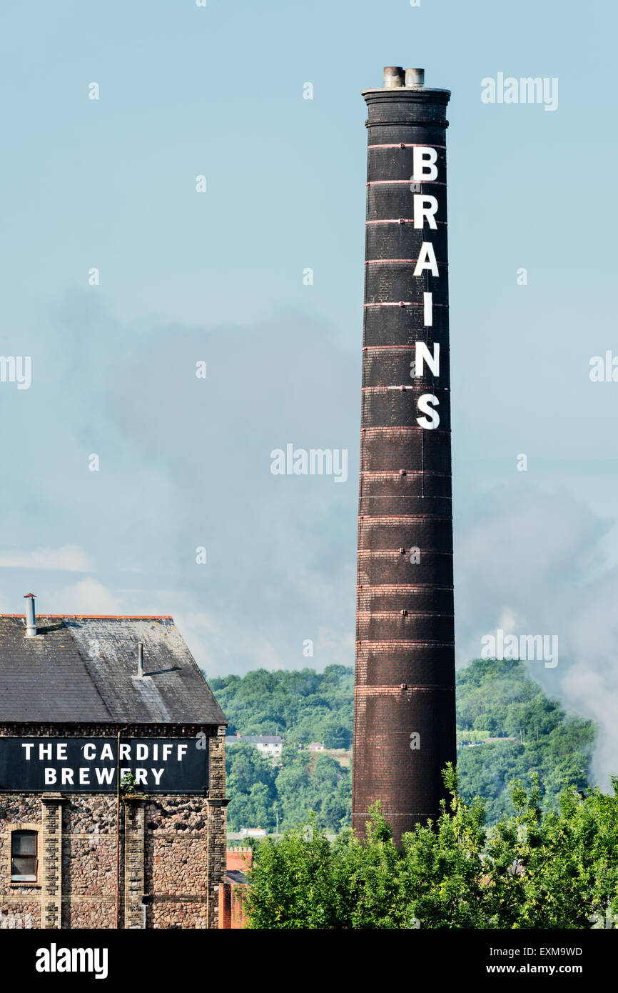 The old chimney of Brains Brewery in Cardiff City, Wales. - Stock Image