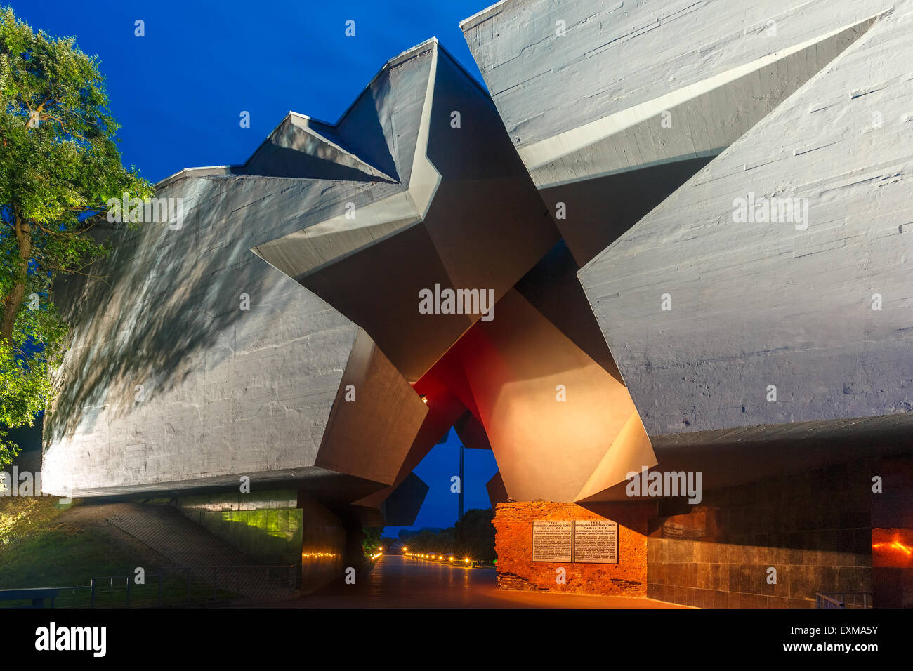 Entrance to Brest fortress at night, Belarus Stock Photo