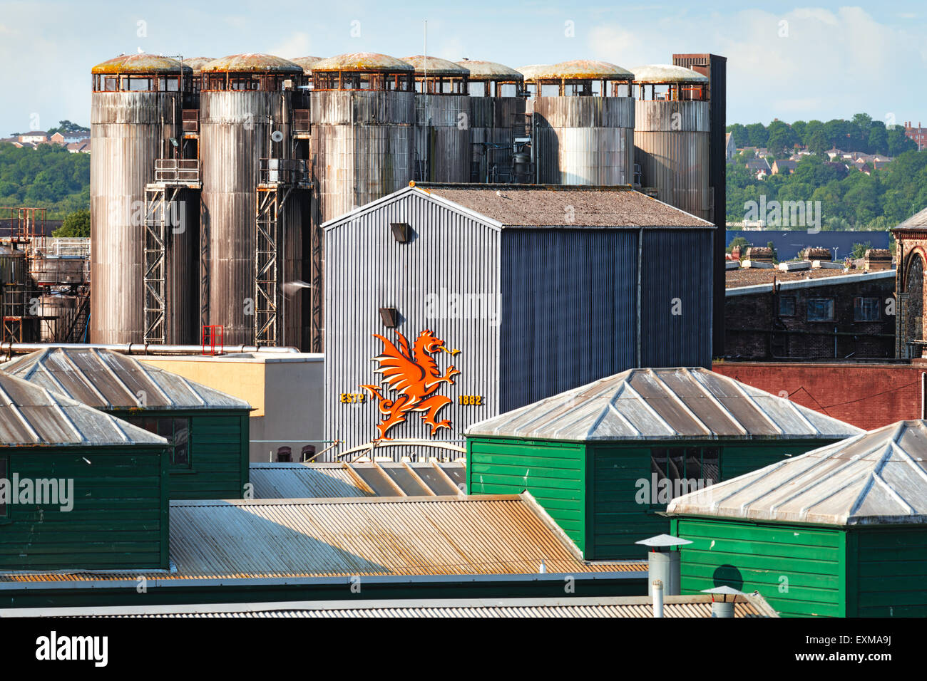 Brains S.A. regional brewery in Cardiff City, Wales. - Stock Image
