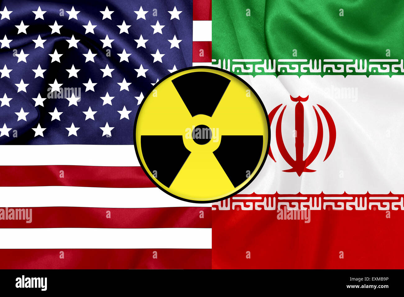 Flags of United States and Iran with Nuclear icon - Stock Image