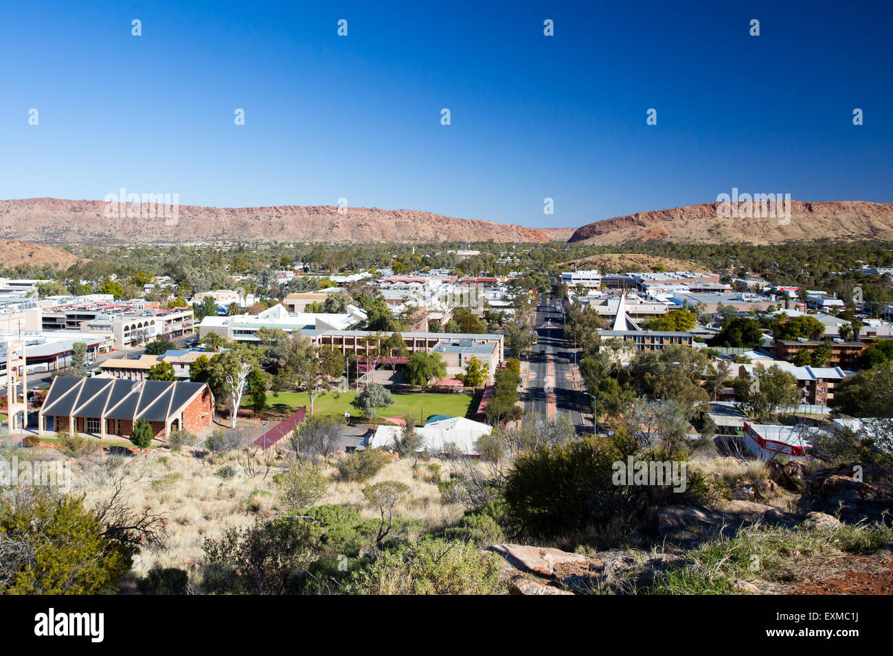 View from Anzac Hill down Hartley St on a fine winter's day in Alice Springs, Northern Territory, Australia - Stock Image
