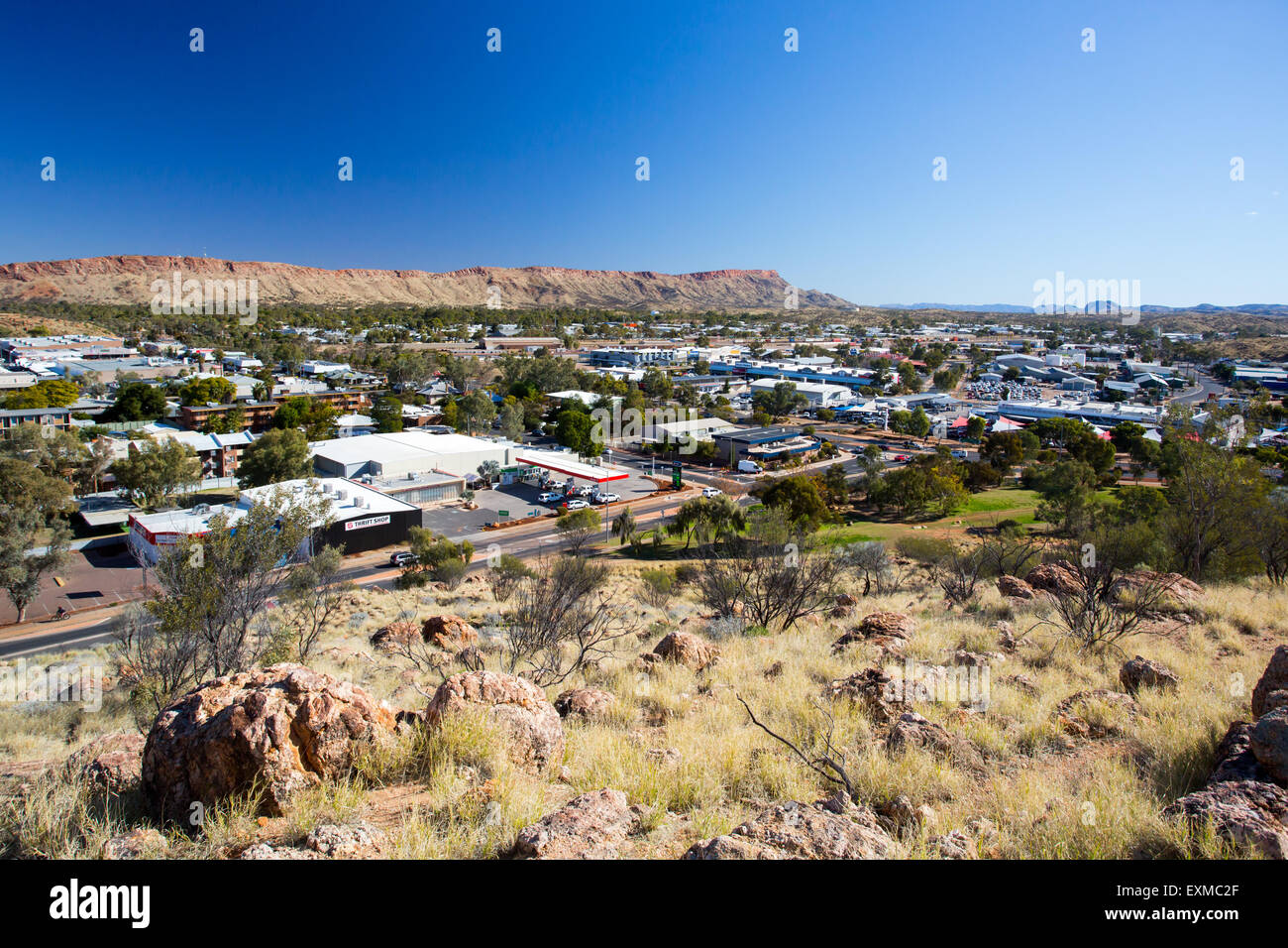 View from Anzac Hill on a fine winter's day in Alice Springs, Northern Territory, Australia - Stock Image
