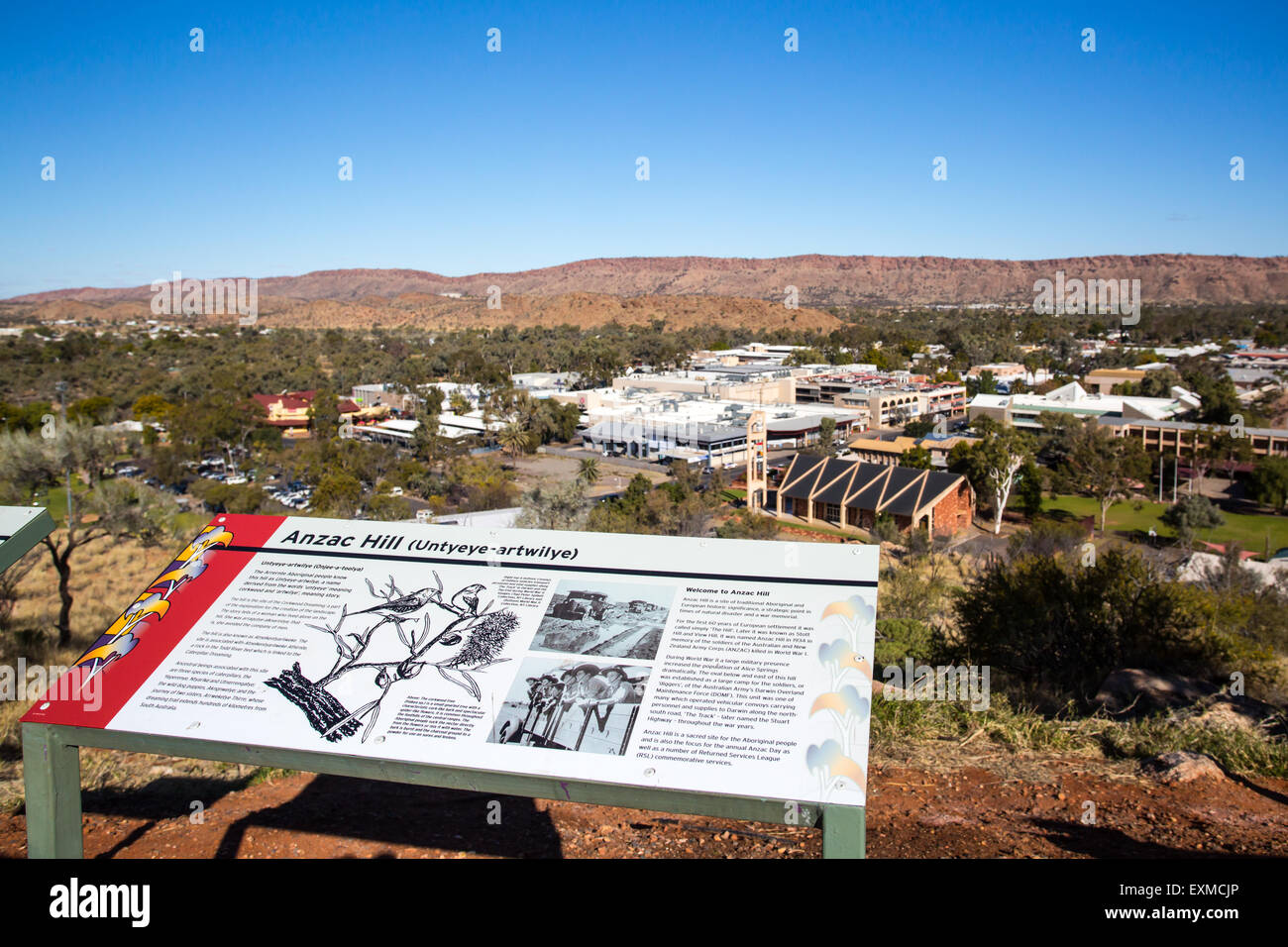 View from Anzac Hill with signage on a fine winter's day in Alice Springs, Northern Territory, Australia - Stock Image