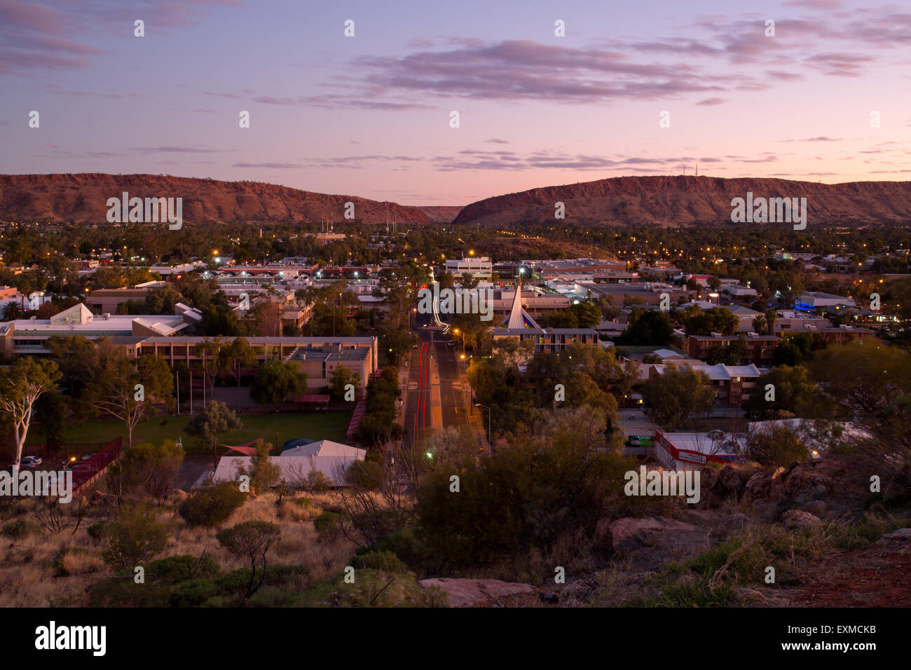 View from Anzac Hill down Hartley St on a fine winter's evening in Alice Springs, Northern Territory, Australia - Stock Image