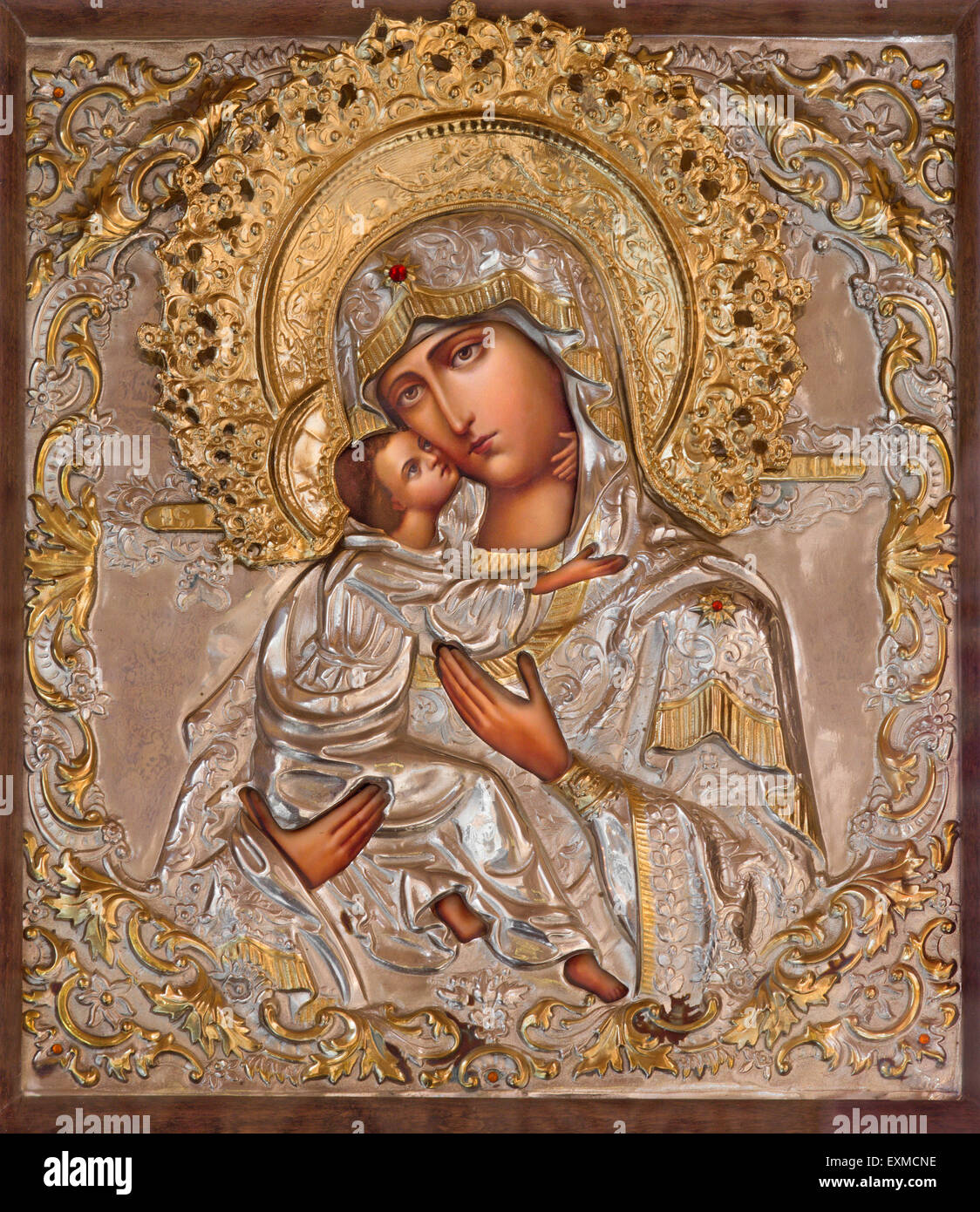 JERUSALEM, ISRAEL - MARCH 5, 2015: The icon of Madonna in Russian orthodox Church of Holy Mary of Magdalene by unknown Stock Photo