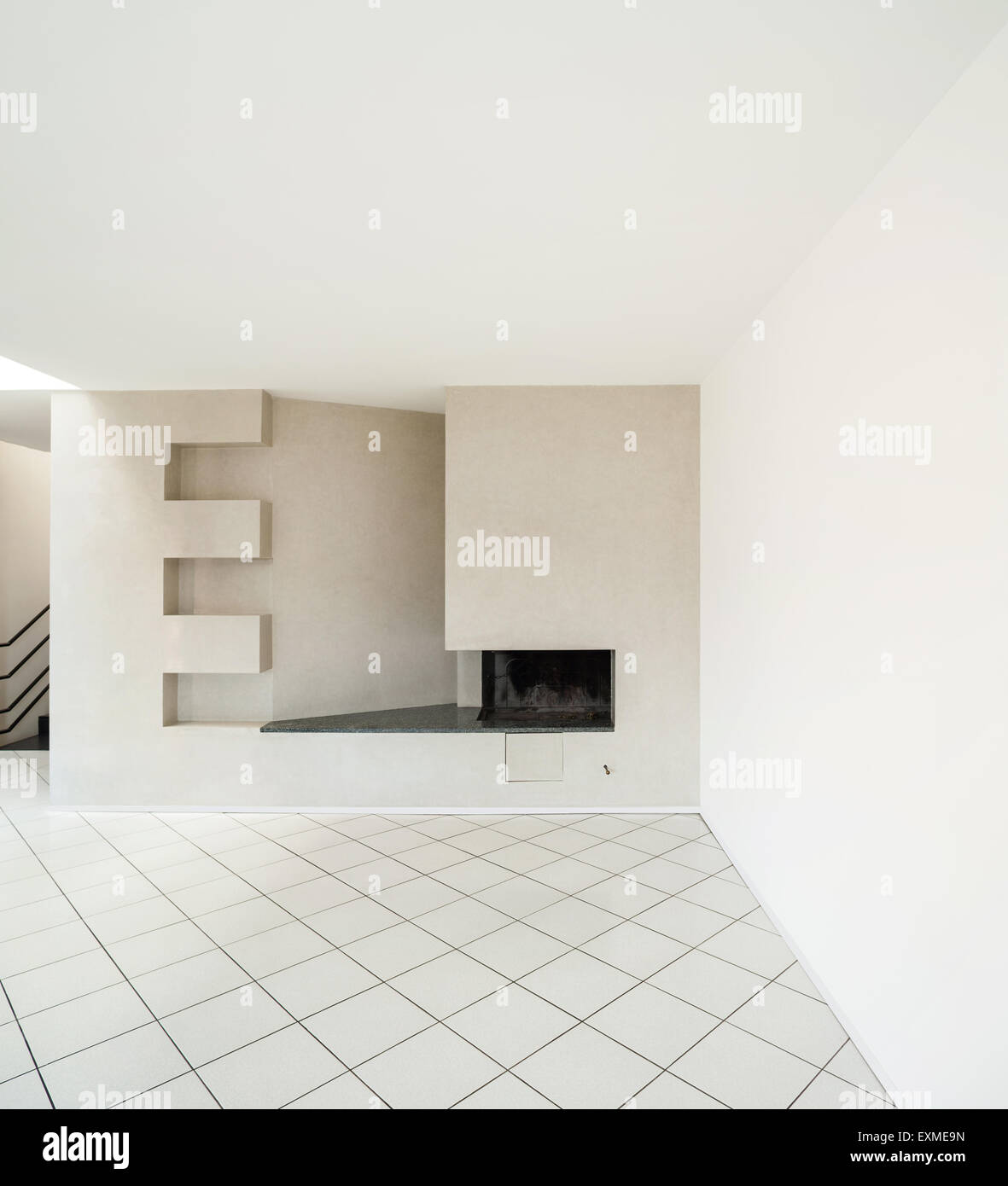 architecture interiors of empty apartment room with fireplace