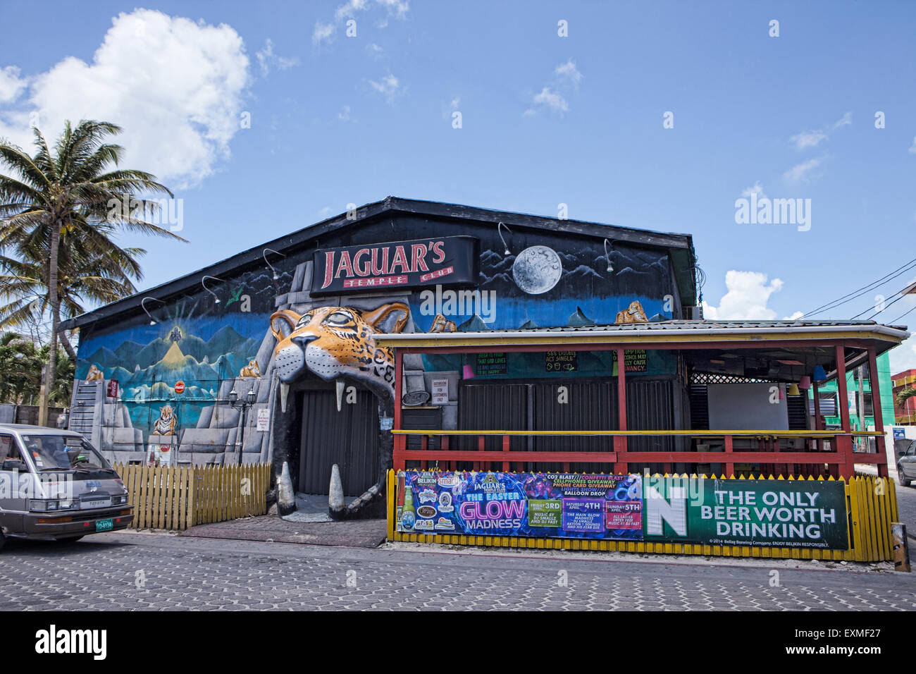 Jaguar's Temple Club in San Pedro, Ambergris Caye, Belize, Central America. - Stock Image
