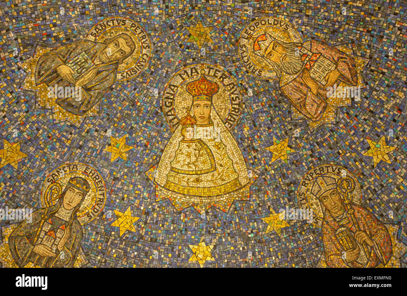 JERUSALEM, ISRAEL - MARCH 3, 2015: The mosaic of Madonna in side apse of Dormition abbey Stock Photo