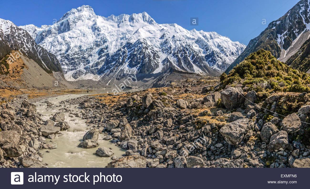 Mount Sefton, Mueller Valley, Mount Cook National Park, New Zealand - Stock Image