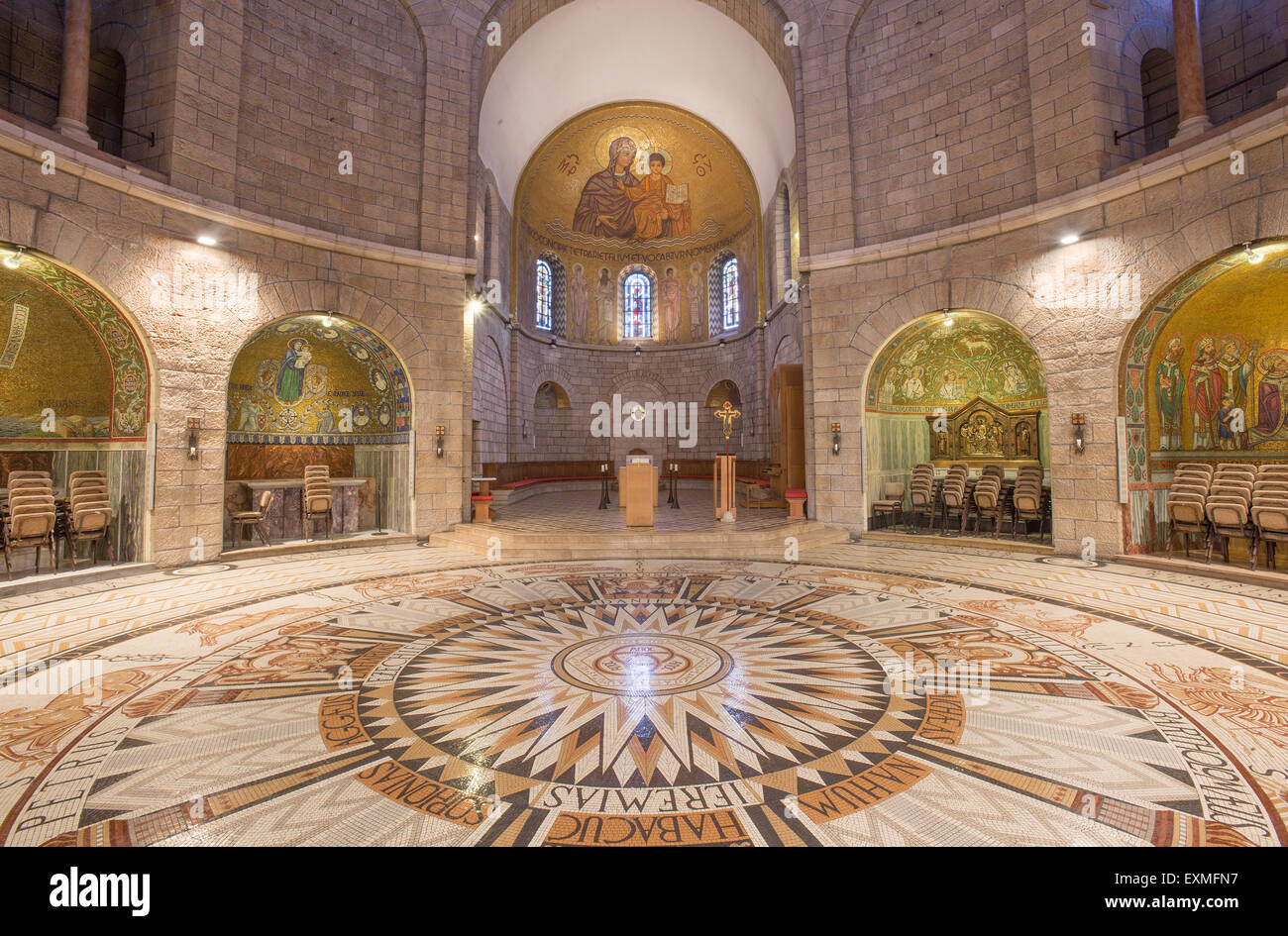 JERUSALEM, ISRAEL - MARCH 3, 2015: The main nave of The Dormition abbey with the mosaic floor designed and carried Stock Photo