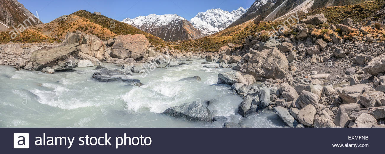 Aoraki Mount Cook National Park - Hooker Valley - Stock Image