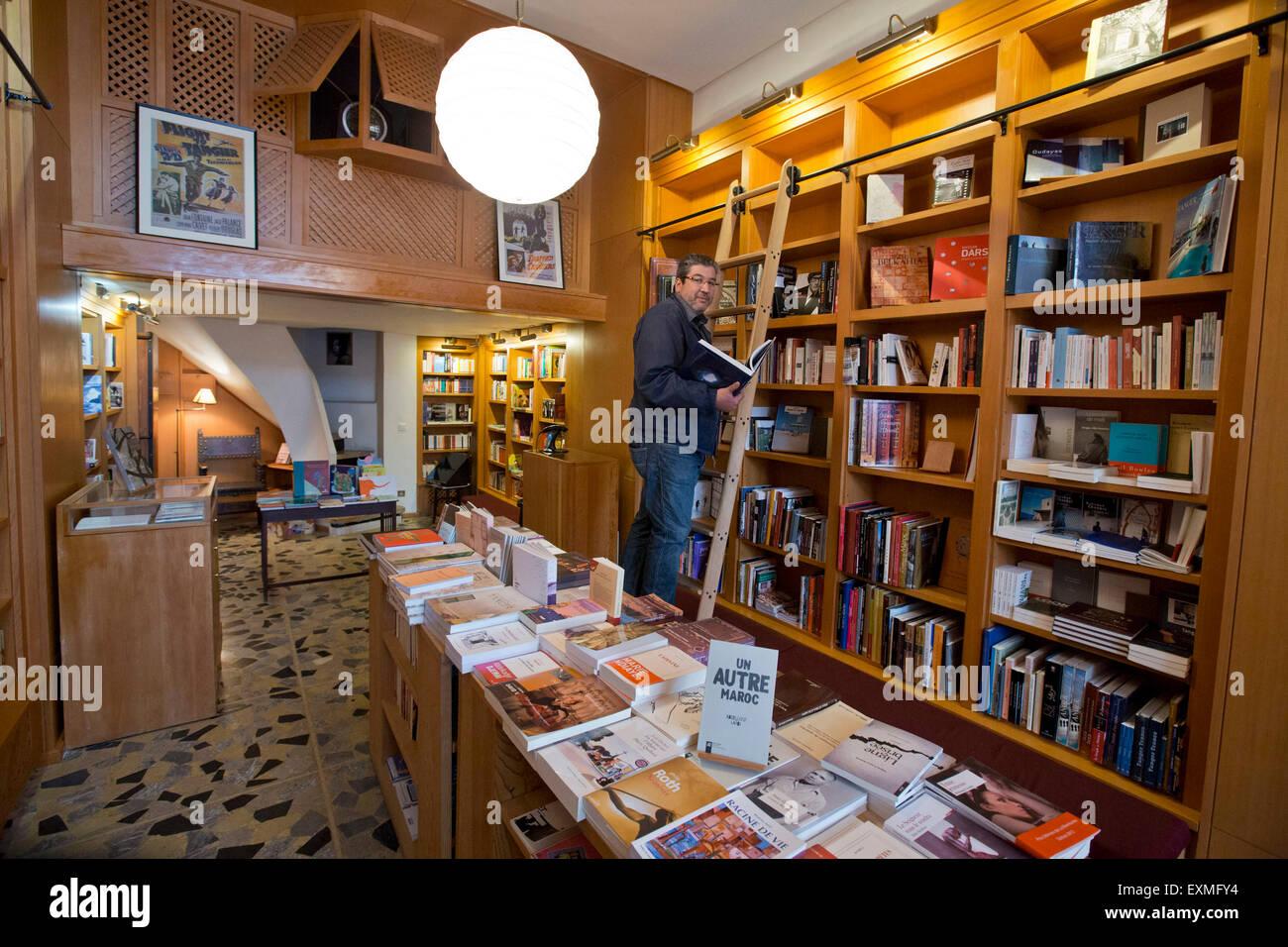 Tangier, book shop DES COLONNES - Stock Image