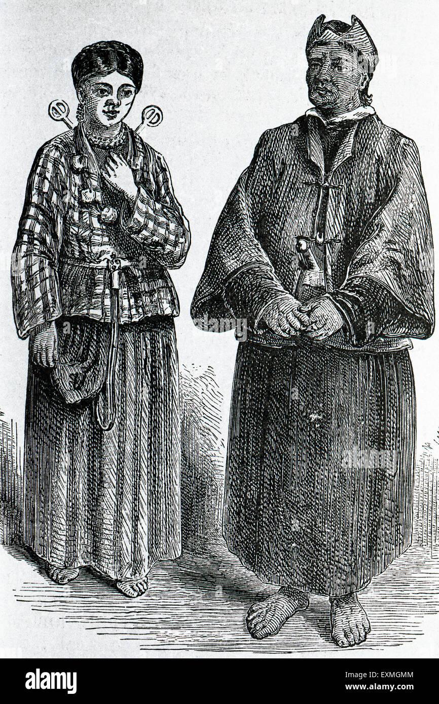 Drawing of lepcha girl and Buddhist lama at Sikkim ; India - Stock Image