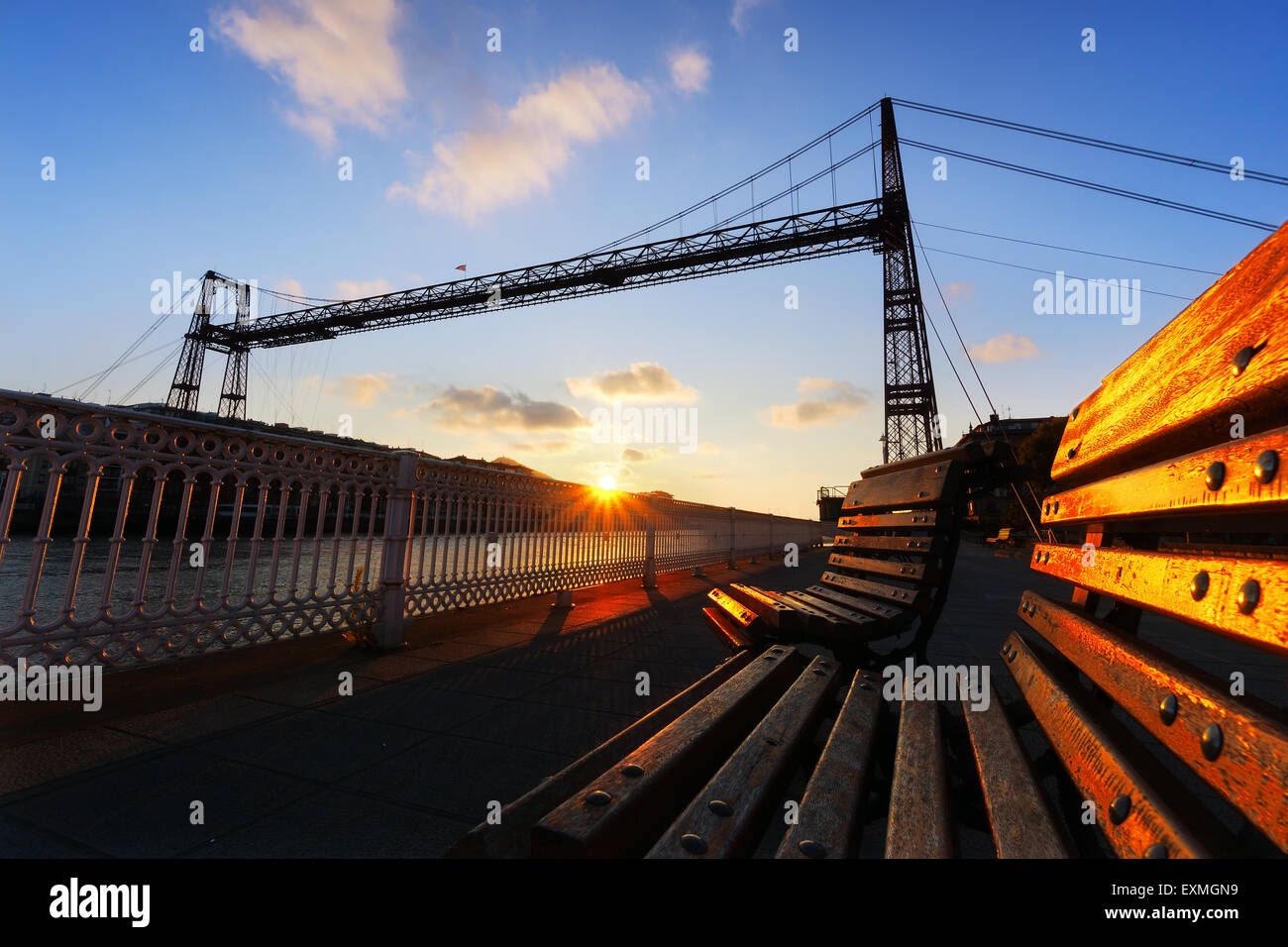 hanging bridge of vizcaya in Getxo - Stock Image