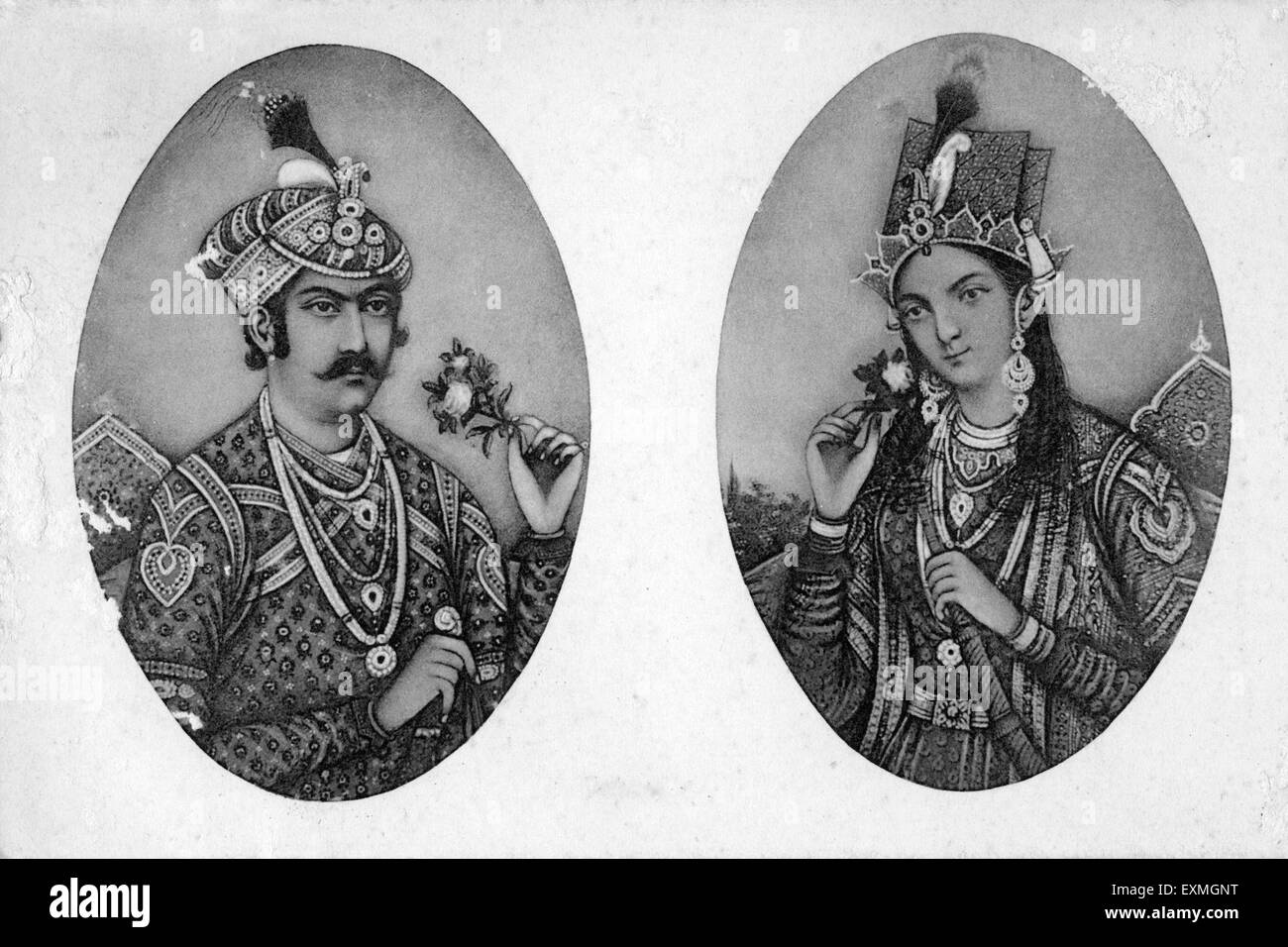 Old picture of the Jahangir and Nur Jahan Begam - Stock Image