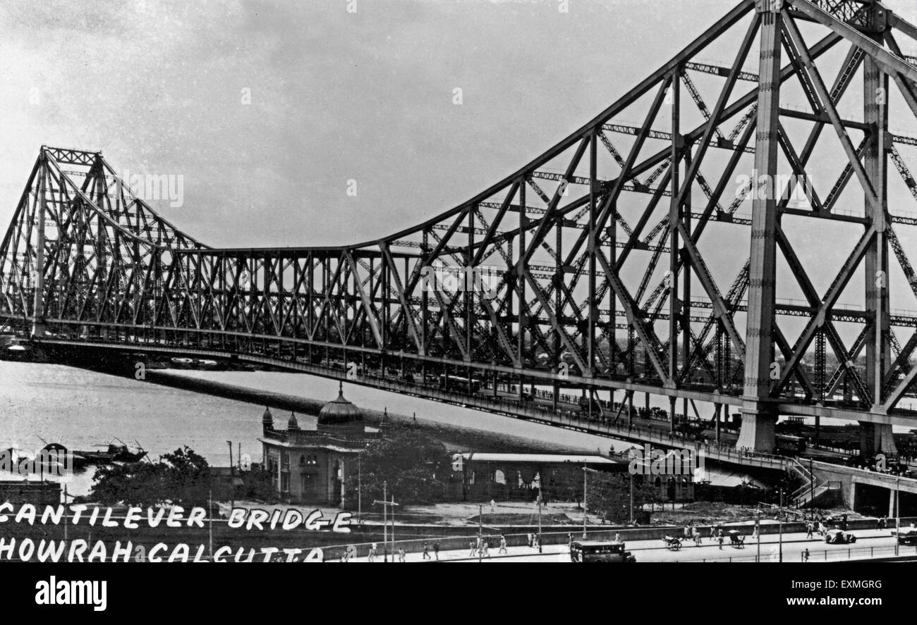 Old picture postcard howrah bridge calcutta west bengal india stock image
