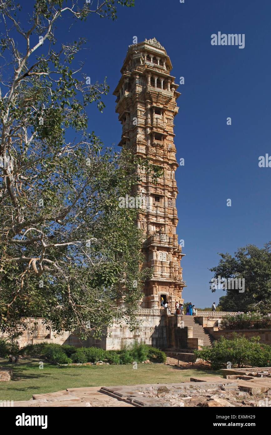Heritage Vijay stambh victory tower is 37 meter high built in 1440 A.D. ; Chittaurgarh ; Rajasthan ; India - Stock Image