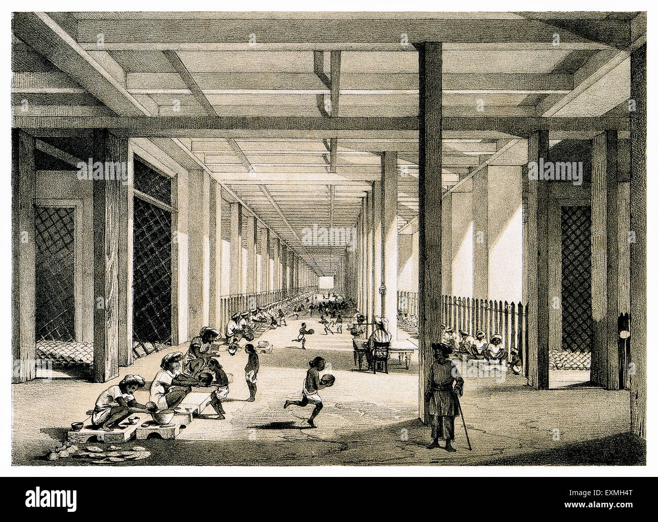 'The Balling Room' where crude opium is made into balls at the British East India Company's Opium factory - Stock Image