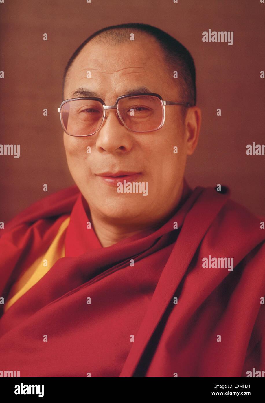 Portrait of Dalai Lama NO MR - Stock Image