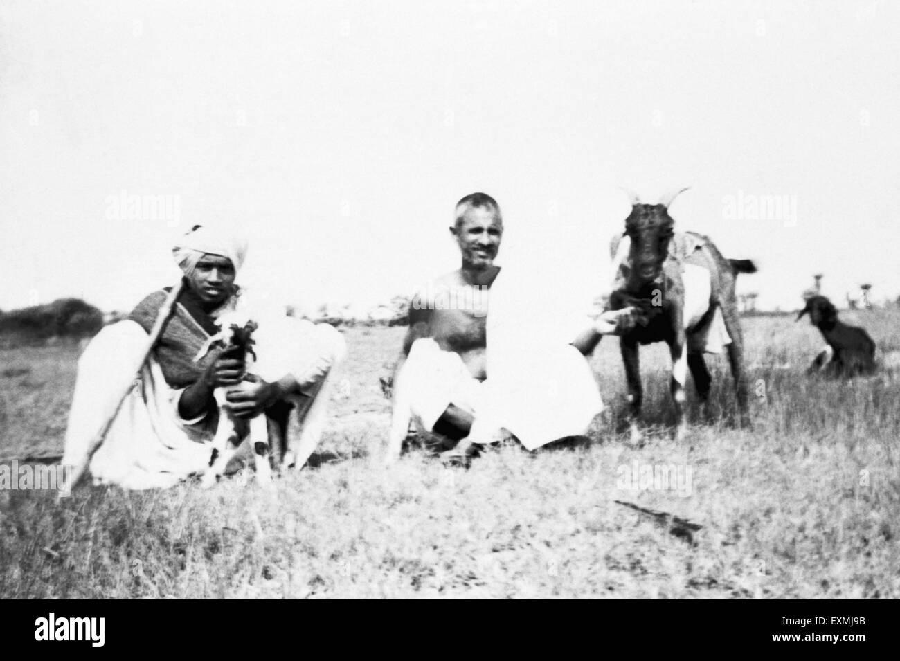 Balwant Singh on the fields of Sevagram Ashram ; 1940 NO MR - Stock Image
