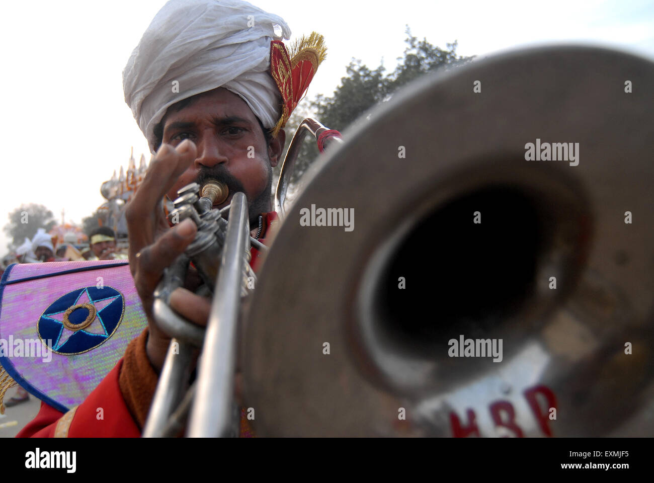 One of musical band member parades on road during religious function at Allahabad; Uttar Pradesh; India - Stock Image