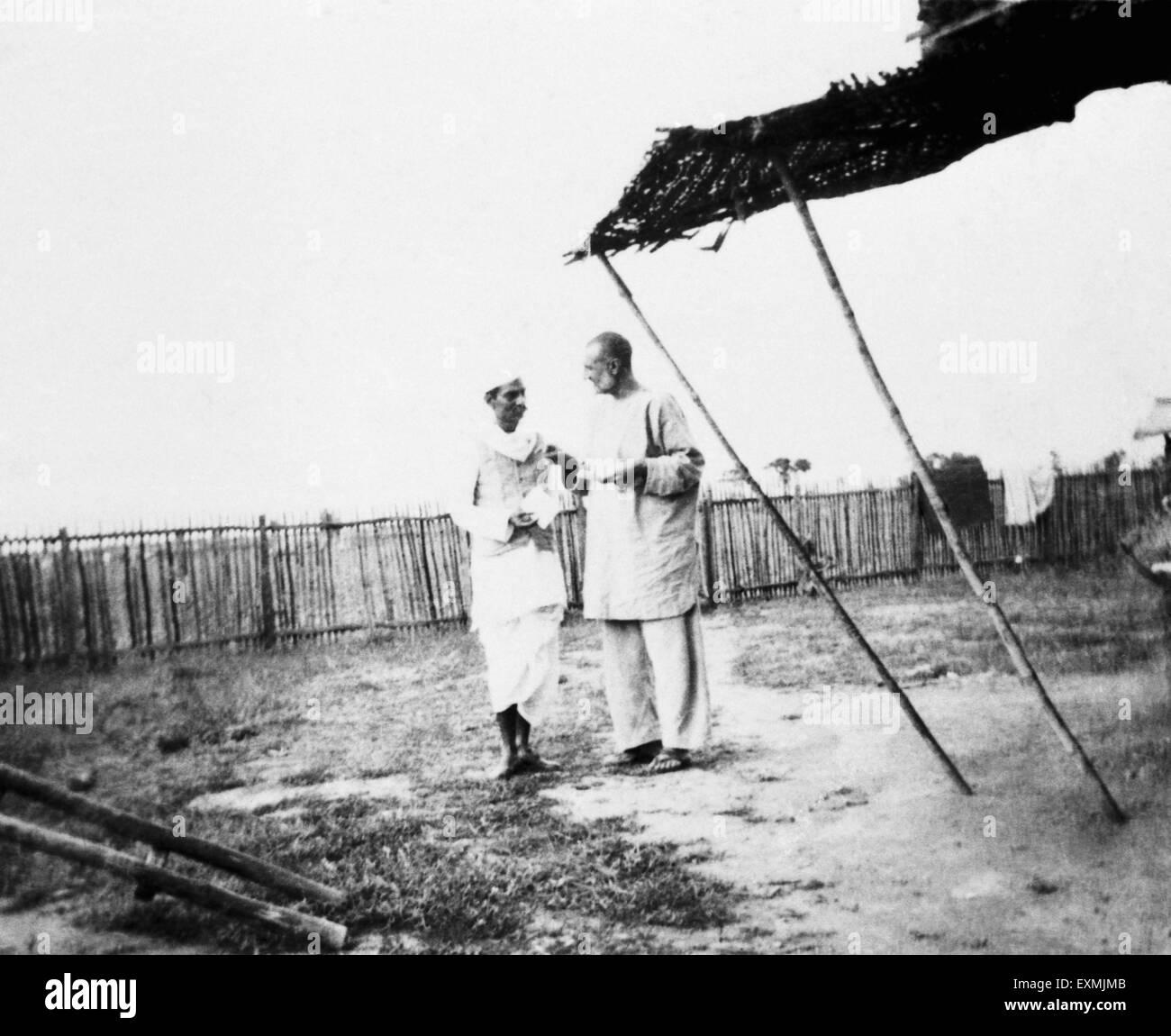 Rajendra Prasad and Khan Abdul Gaffar Khan at Sevagram Ashram ; 1938 NO MR - Stock Image
