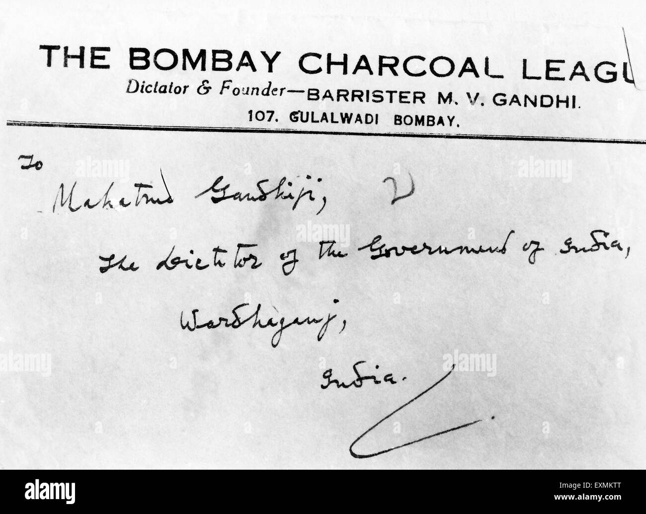A letterhead carrying the address of Mahatma Gandhi ; the dictator of the government of India ; Wardhaganj - Stock Image