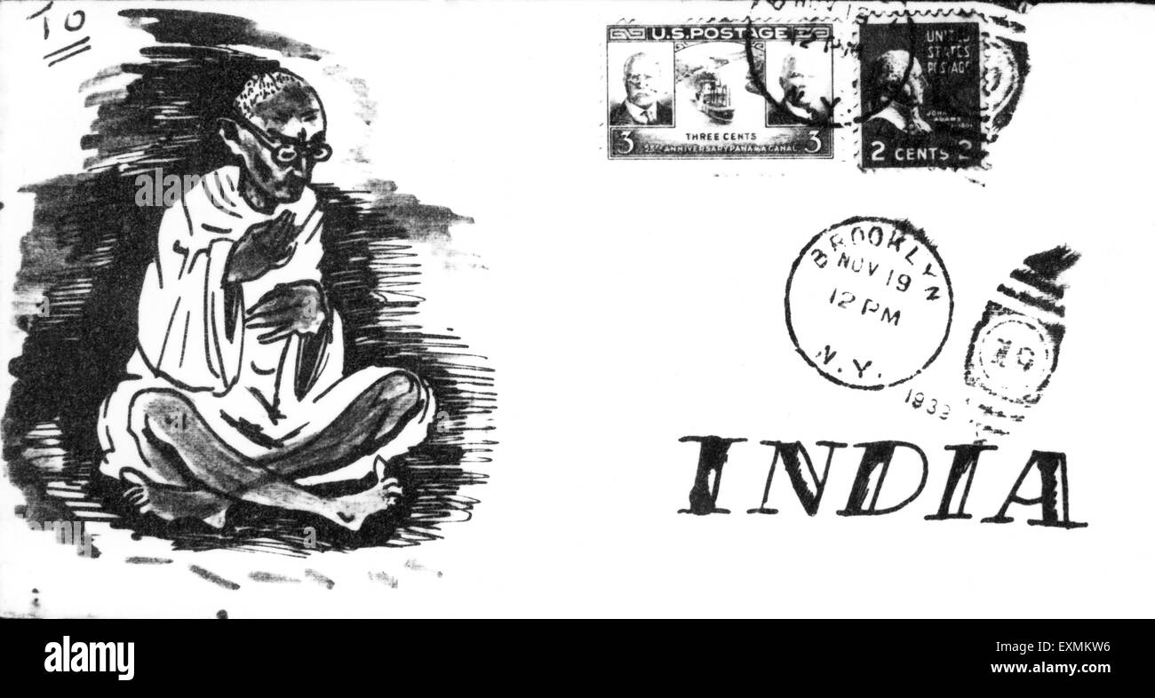 An envelope sent to Mahatma Gandhi from USA showing a drawing of Mahatma Gandhi instead of an address ; 1940 ; India - Stock Image