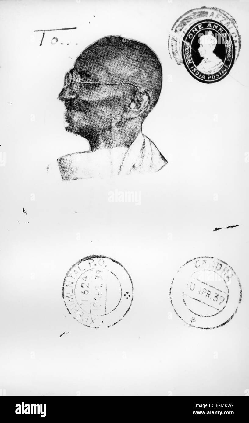 An envelope sent to Mahatma Gandhi from UK showing a drawn portrait of Mahatma Gandhi instead of an address - Stock Image