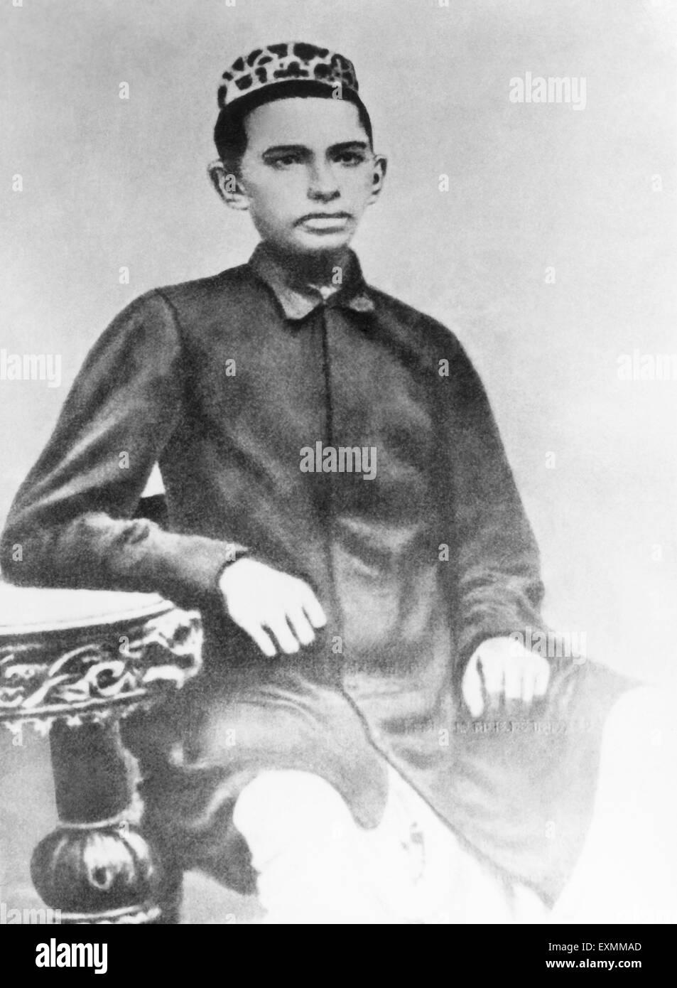 Mahatma Gandhi at the age of fourteen 1883 - Stock Image