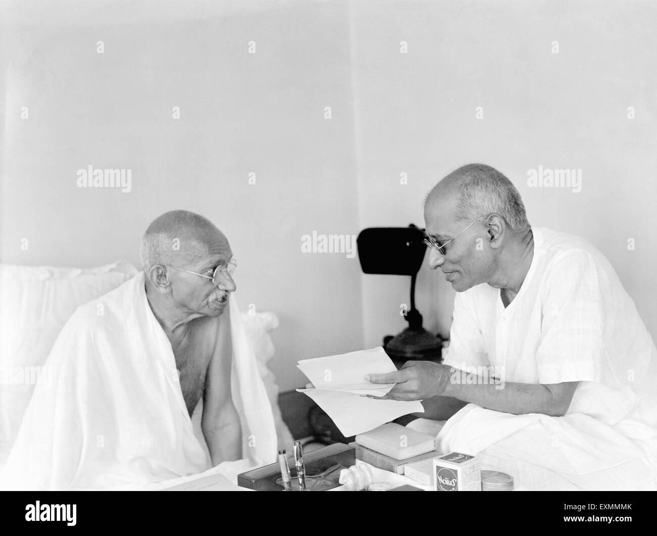 Mahatma Gandhi and Chakraborty Rajagopalachari during the Gandhi Jinnah talks at Birla House ; Mumbai ; 1944 ; India - Stock Image
