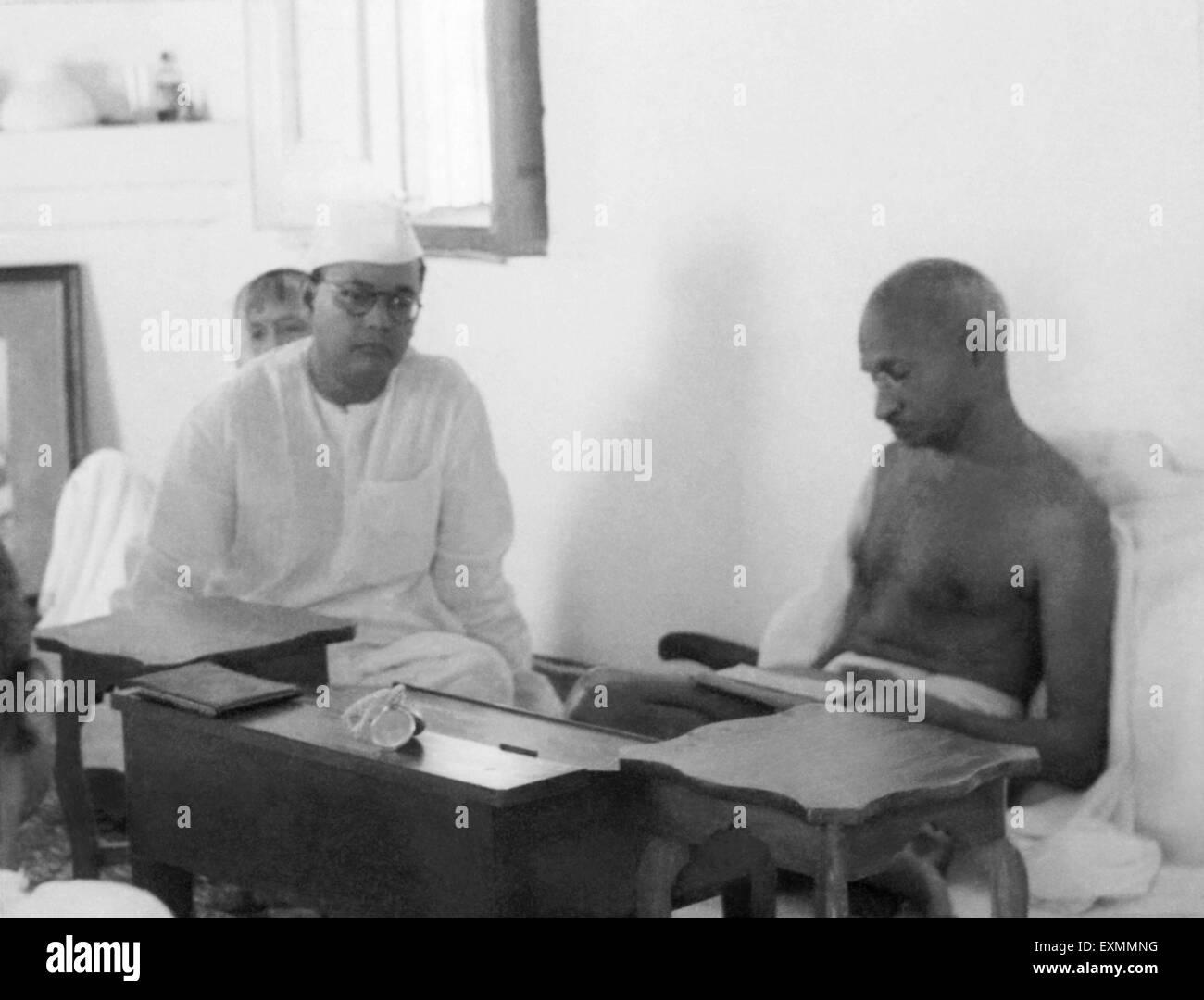 Subhash Chandra Bose and Mahatma Gandhi ; New Delhi ; 1938 ; India NO MR - Stock Image