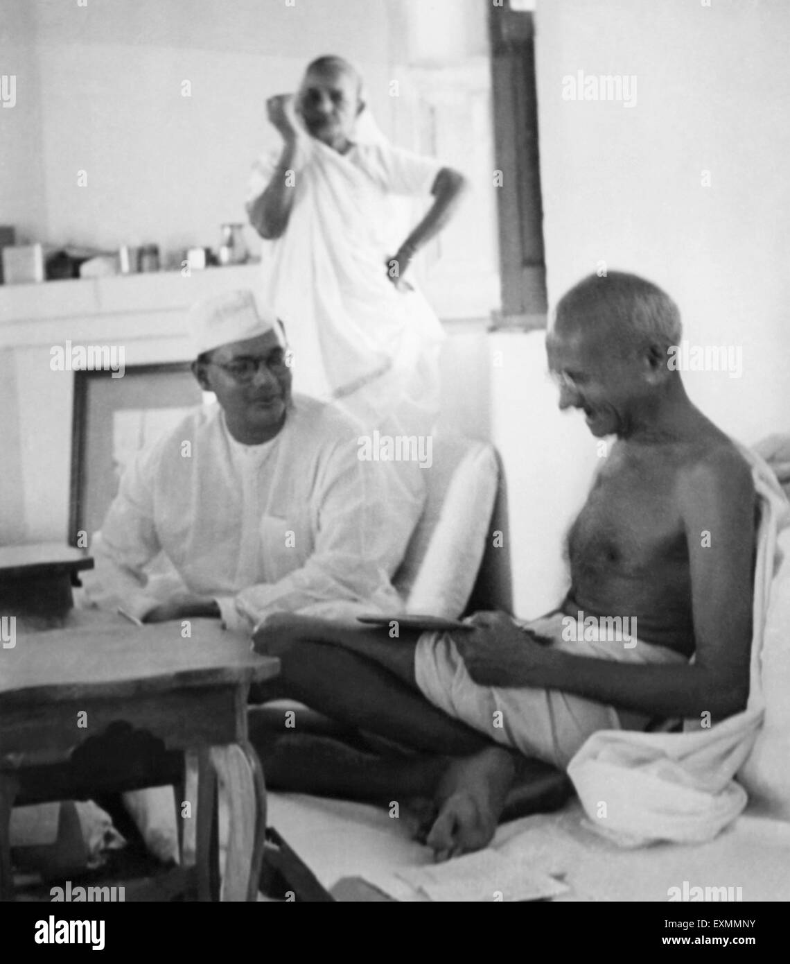 Mahatma Gandhi with Subhash Chandra Bose and Kasturba Gandhi at Birla House ; New Delhi ; 1938 ; India - Stock Image